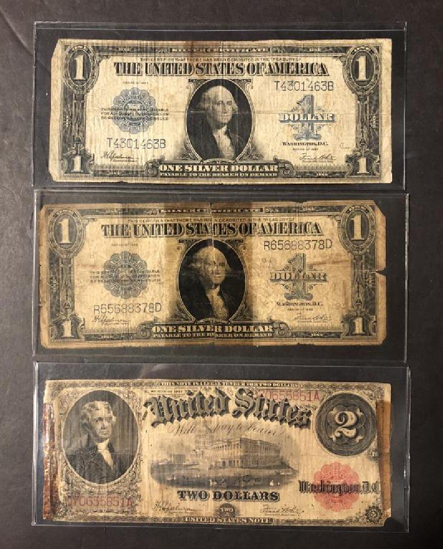 Lot of 3 Large Size Notes 2x 1923 $1 & 1917 $2