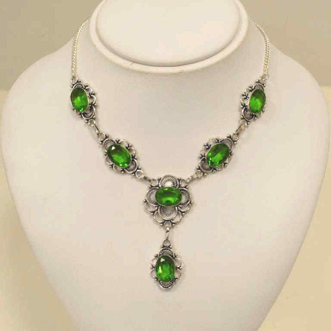 Electric green quartz necklace