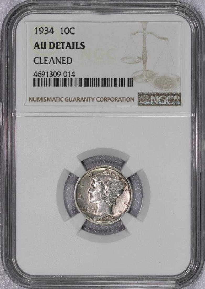1934 Mercury Silver Dime NGC AU detail cleaned