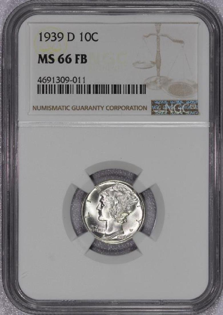 1939-D Mercury Silver Dime NGC MS66 FB Full Bands