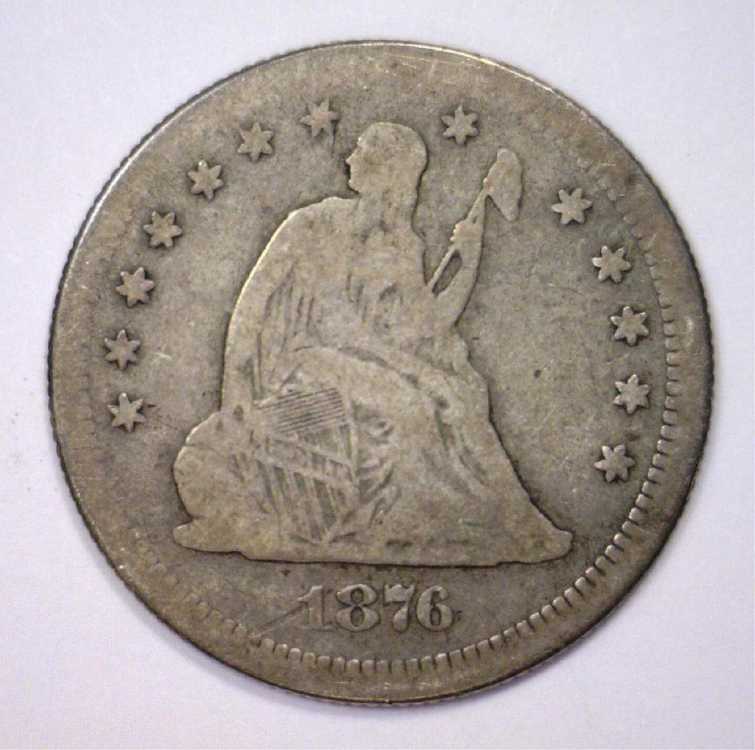 1876-S Seated Liberty Silver Quarter AG