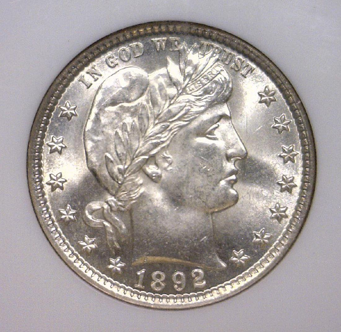 1892 Barber Silver Quarter Gem BU NGC MS65