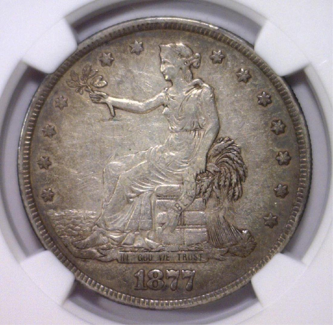 1877 Trade Silver $1 NGC VF details Obv scratched
