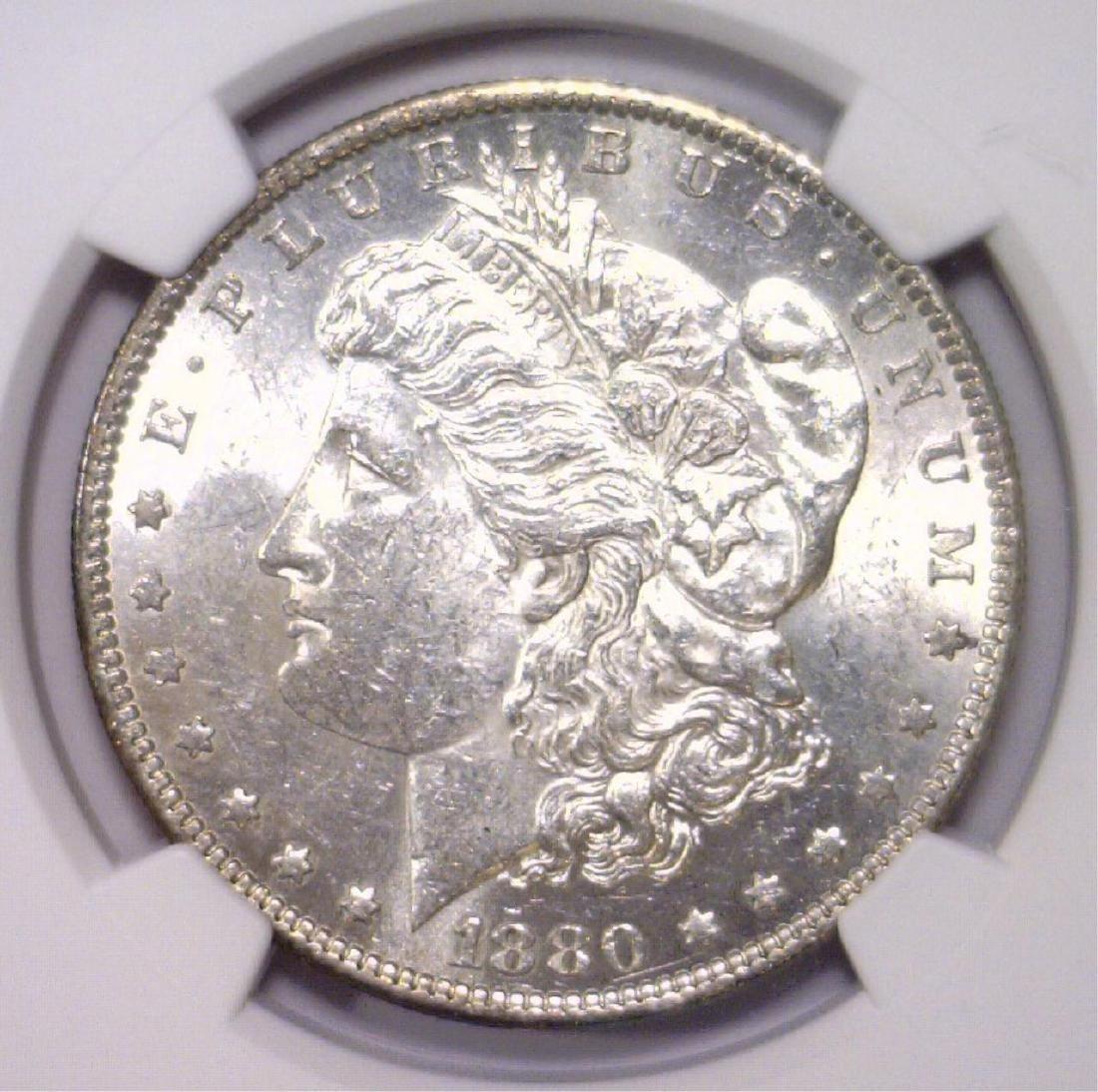1880-O Morgan Silver Dollar NGC AU58