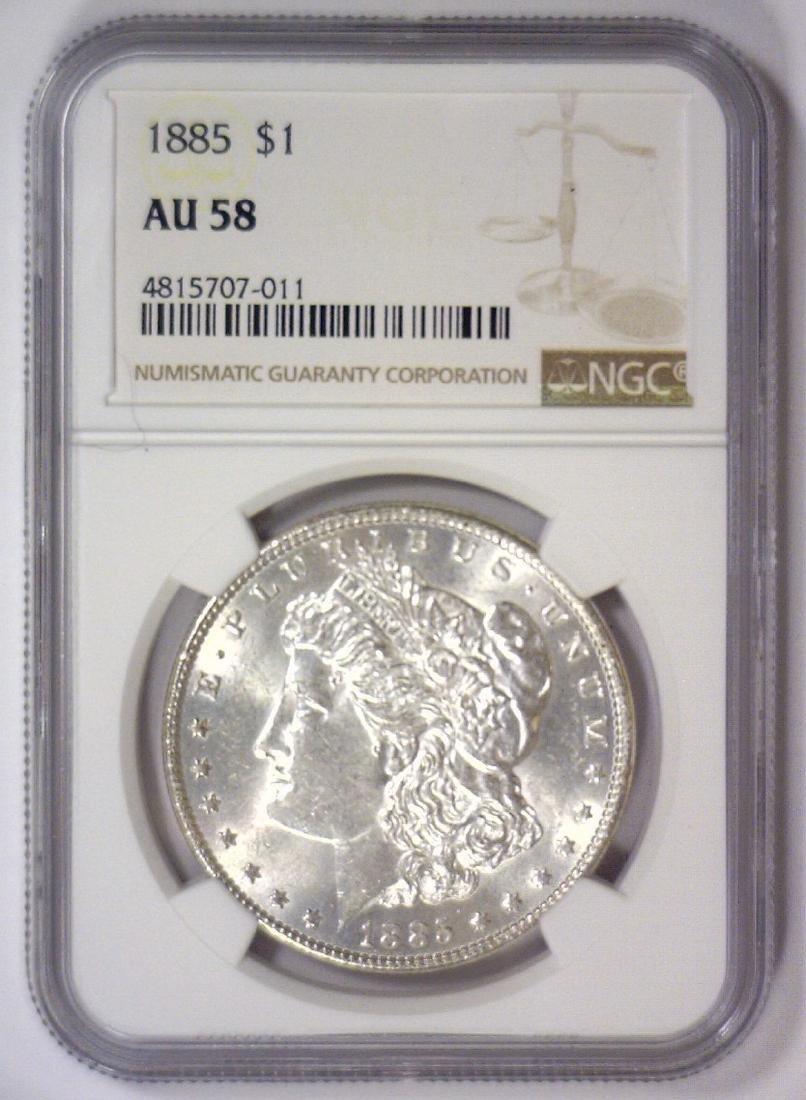 1885 Morgan Silver Dollar NGC AU58 - 2