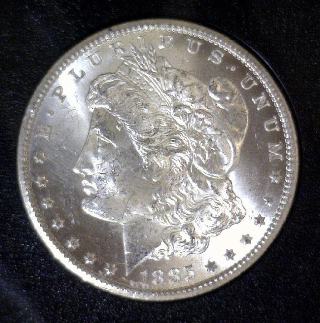 1885-CC Morgan Silver $1GSA BU w/ Orig Mailing Box