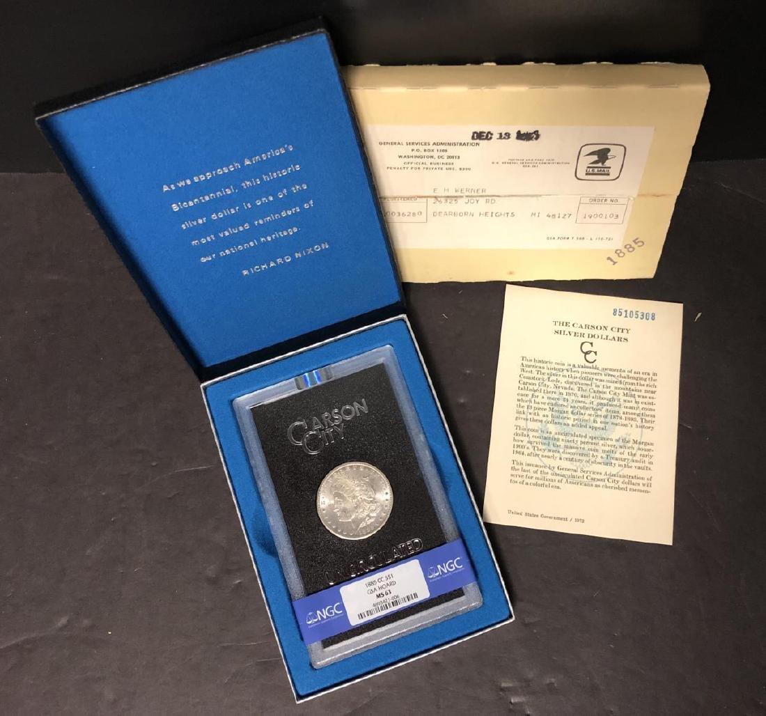 1885-CC Morgan $1 GSA NGC MS63 w/Shipping Box