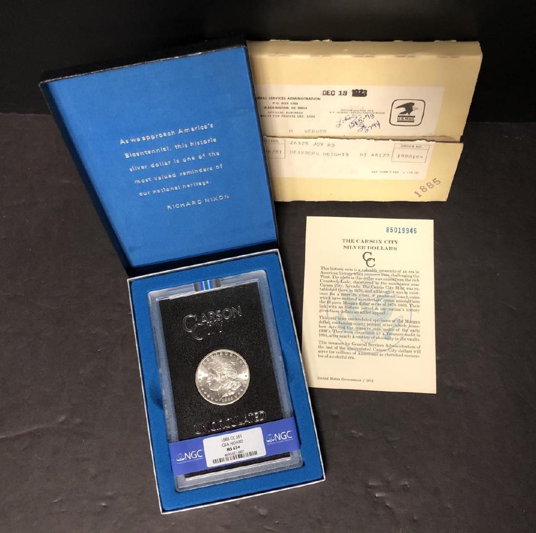 1885-CC Morgan $1 GSA NGC MS63+ w/Shipping Box