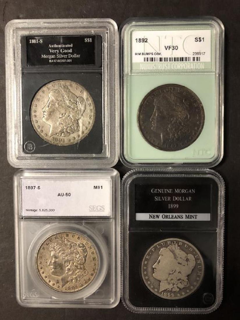 Lot of 4 Morgan Dollars 1881-S 1892 1897-S 1899-O
