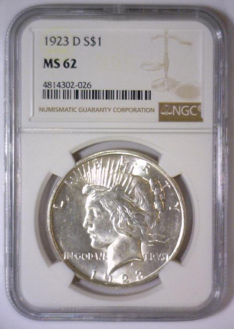 1923-D Peace Silver Dollar NGC MS62