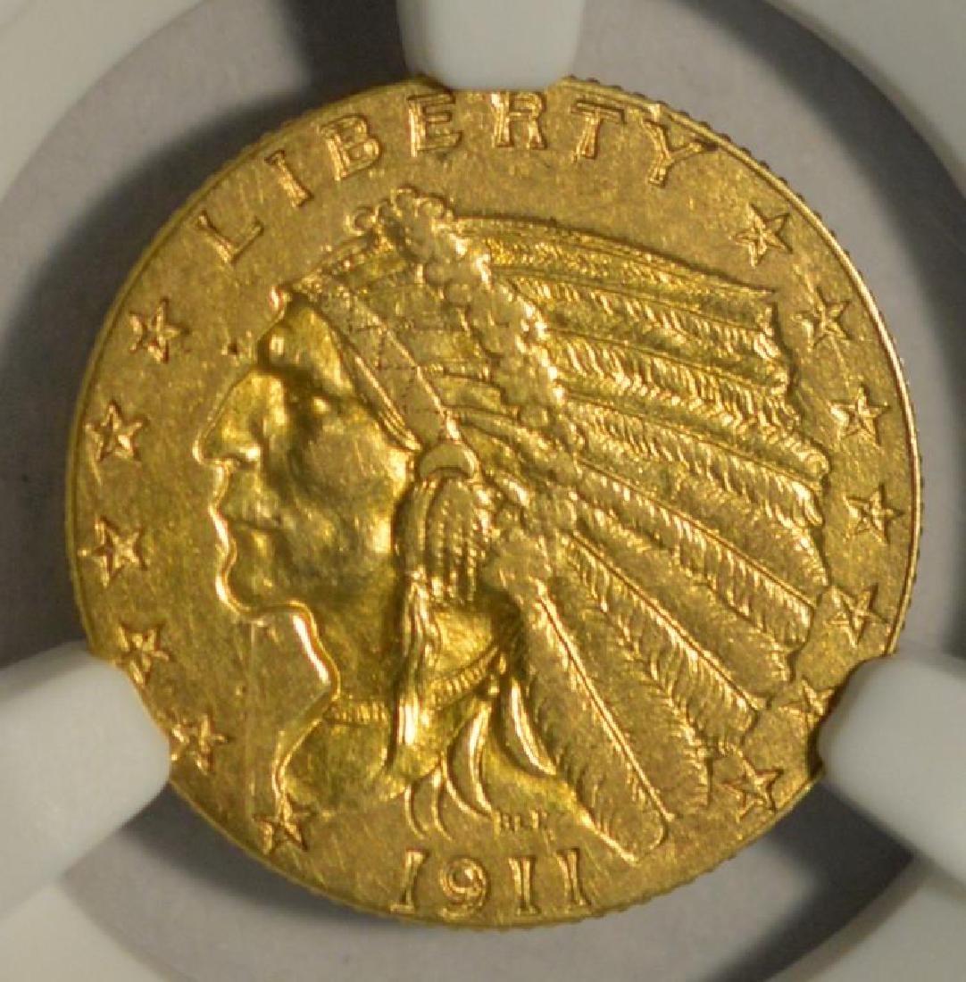 1911-D $2.5 Indian Gold Quarter Eagle NGC AU Det.