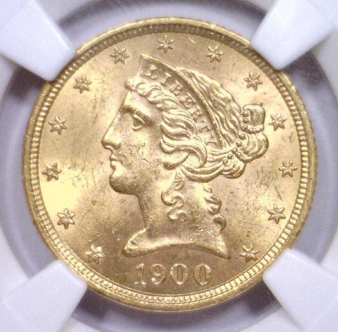 1900 $5 Liberty Gold Half Eagle NGC MS63+