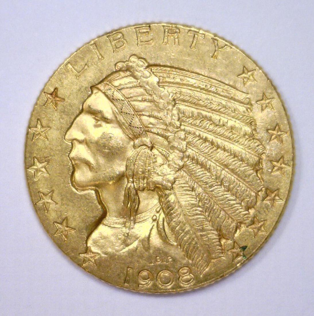 1908 $5 Indian Head Gold Half Eagle XF+