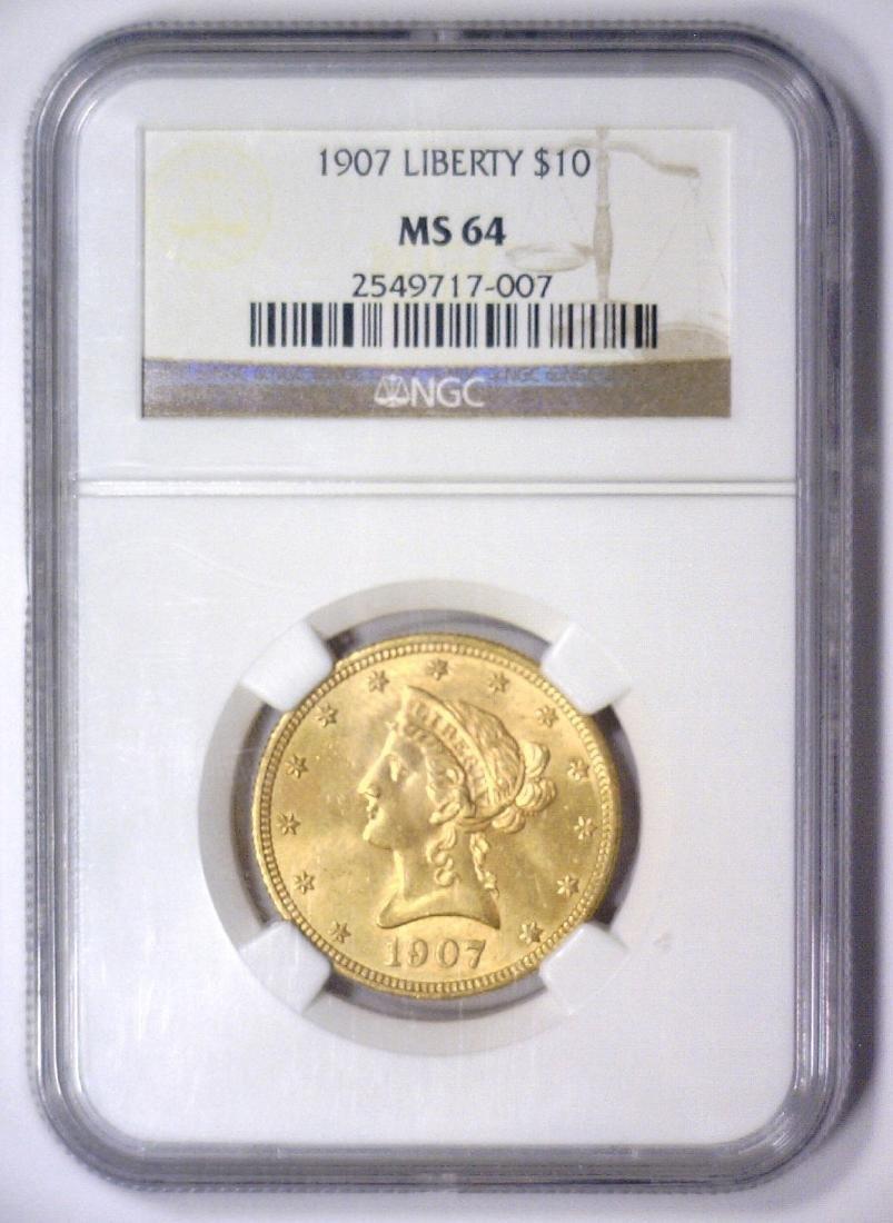 1907 $10 Liberty Head Gold Eagle NGC MS64 - 2