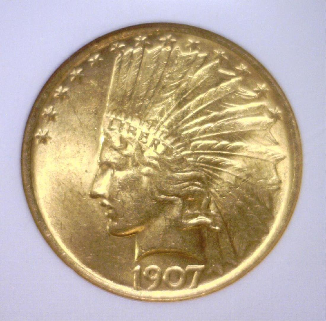 1907 $10 Indian Head Gold Eagle NGC MS64