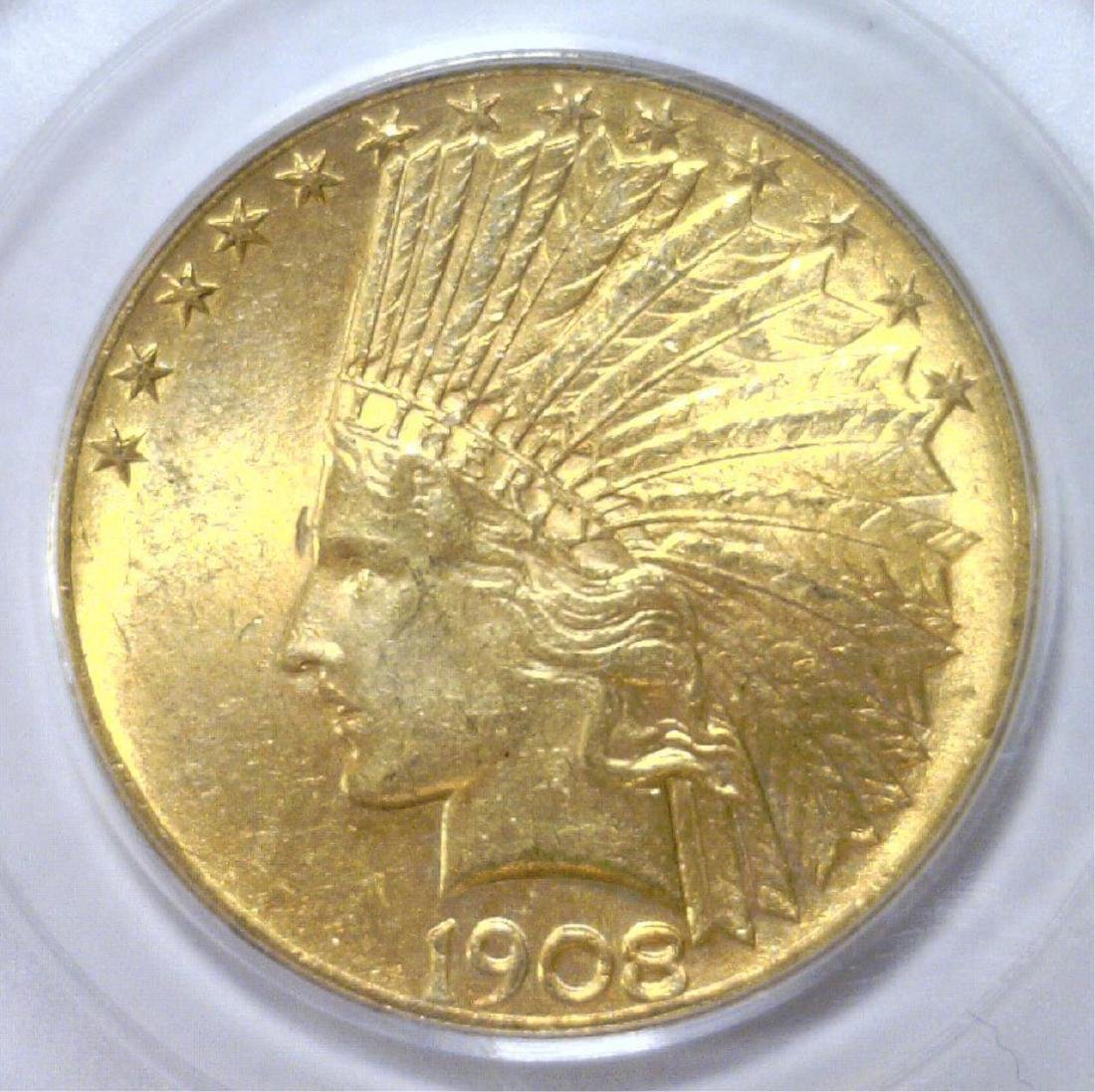 1908 $10 MOTTO Indian Head Gold Eagle PCGS MS63