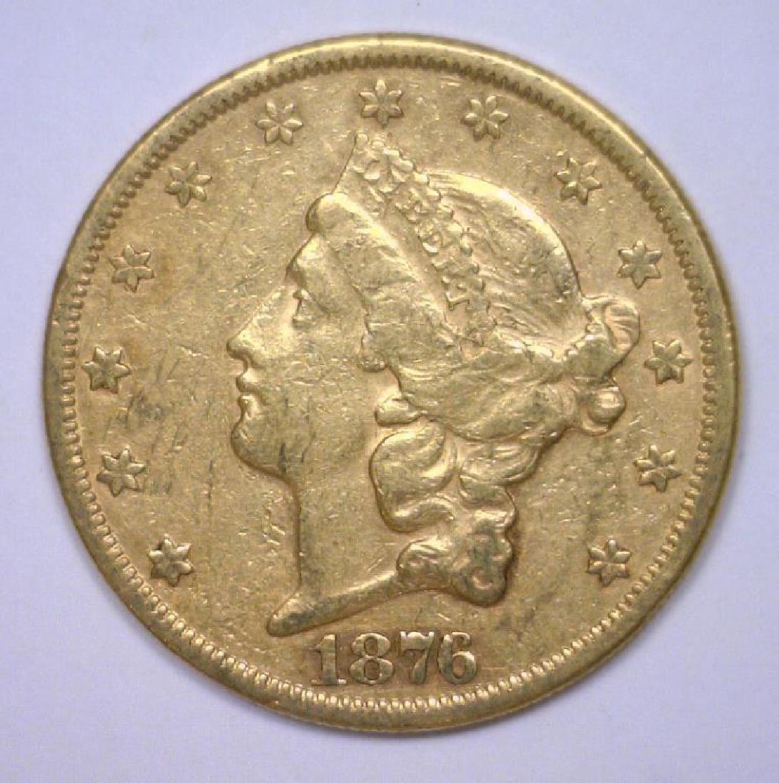 1876 $20 Liberty Gold Double Eagle AU58