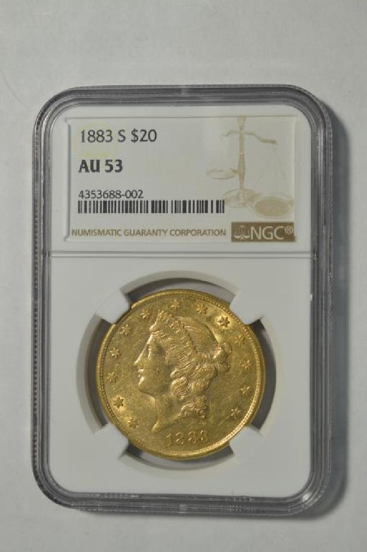 1883-S $20 Liberty Head Gold Double Eagle NGC AU53