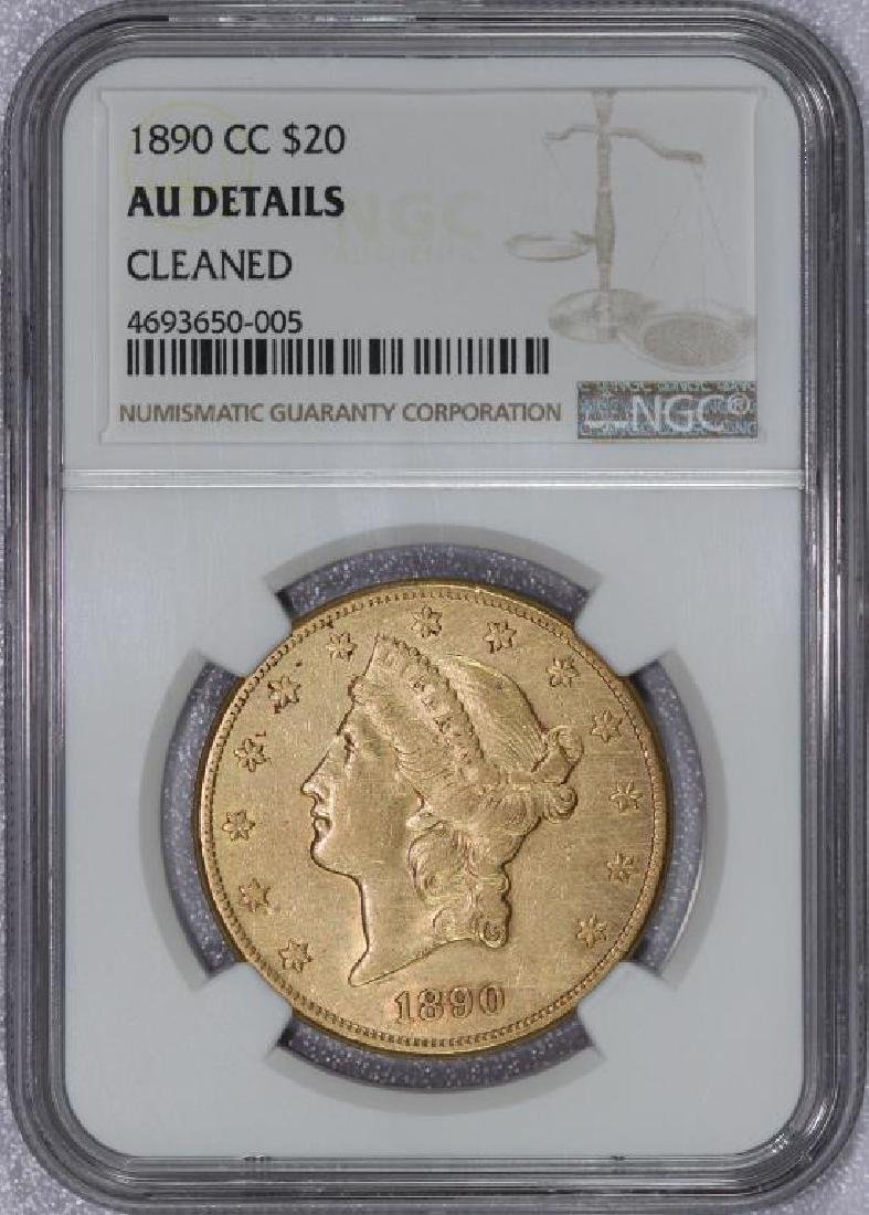 1890-CC $20 Liberty Gold Double Eagle NGC AU det.