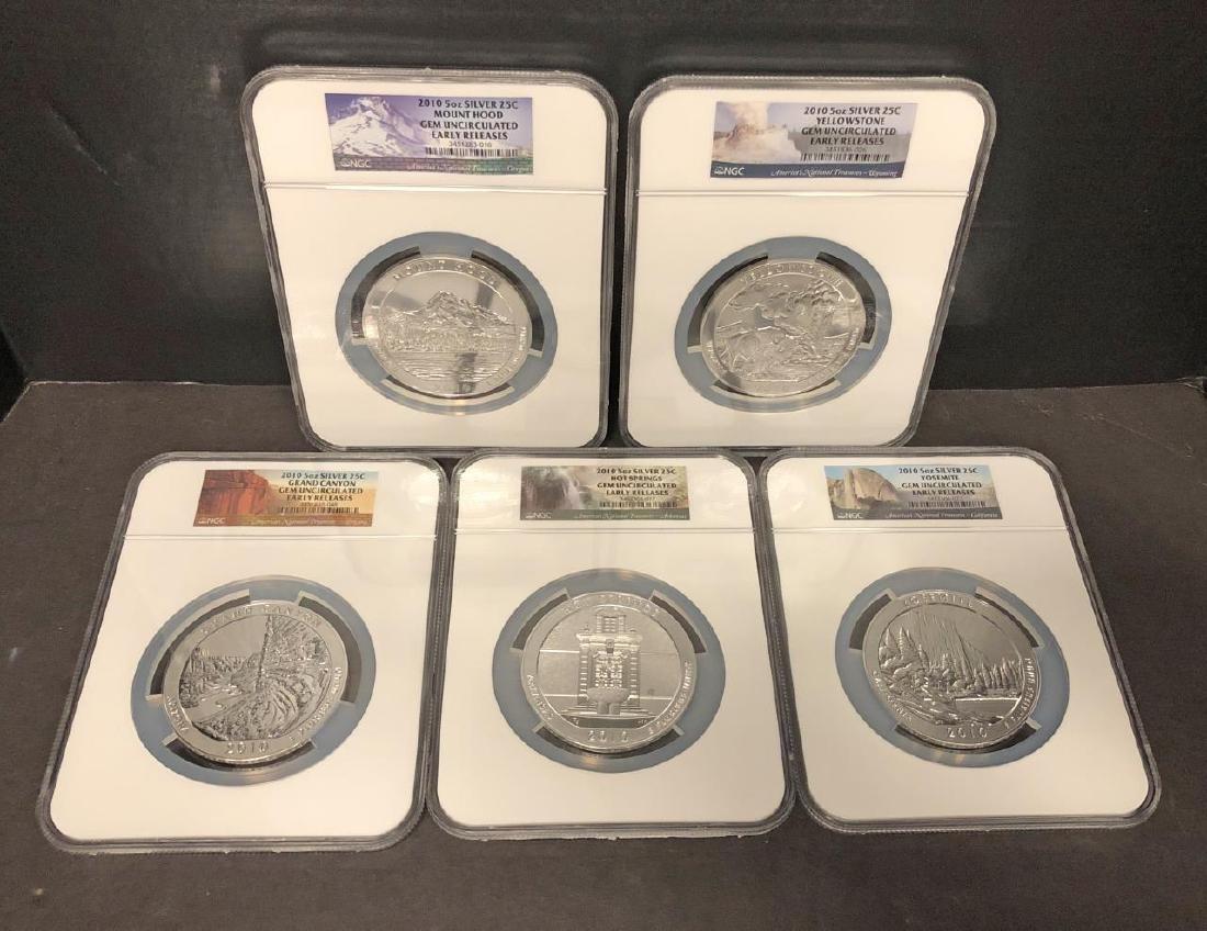 2010 ATB Silver 5 oz Quarter 5-coin Set NGC ER