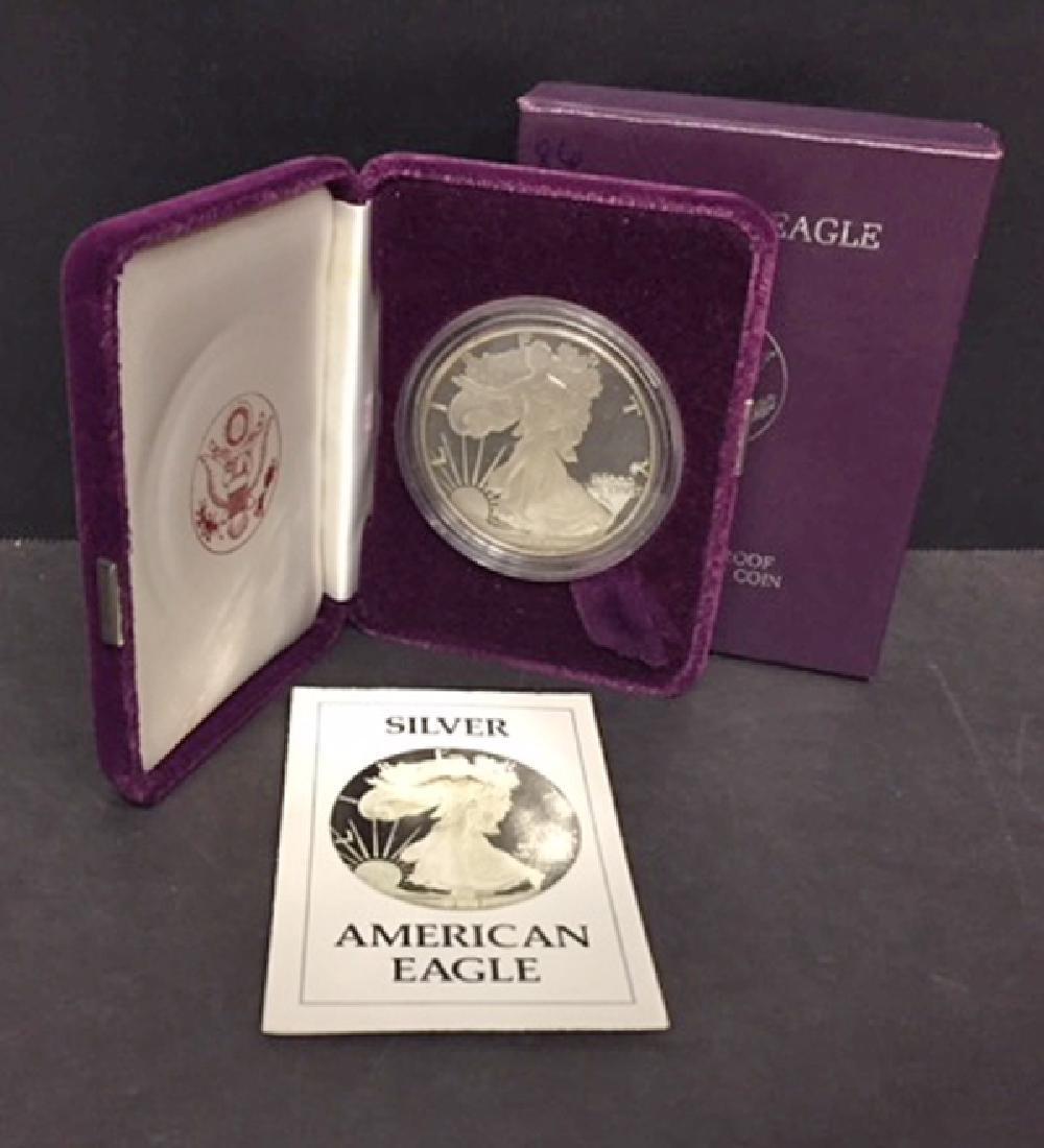 1986 Silver American Proof Eagle with Box & COA