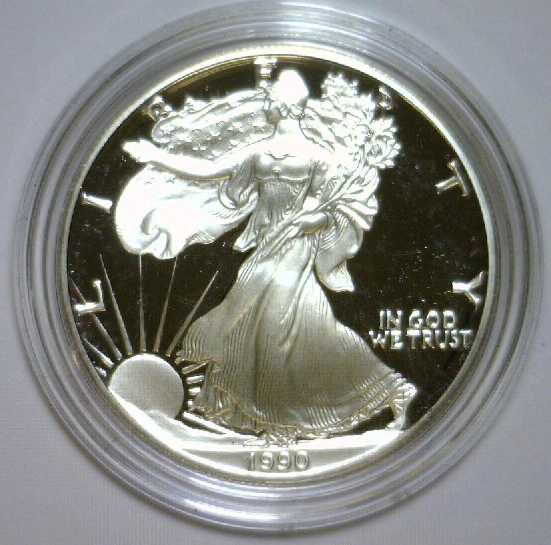 1990 Silver American Proof Eagle with Box & COA - 2