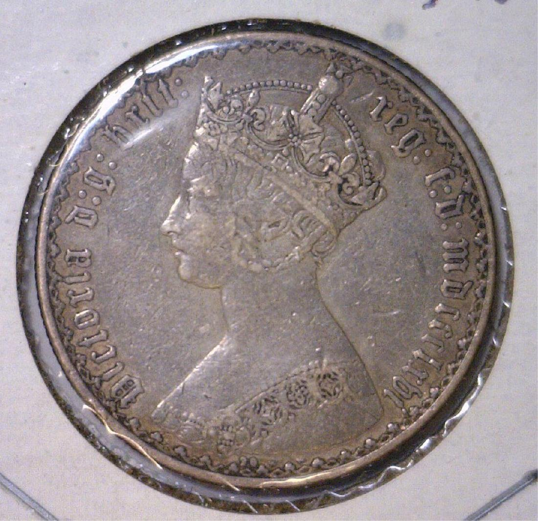 1866 Silver Florin Great Britain VF Mount Removed