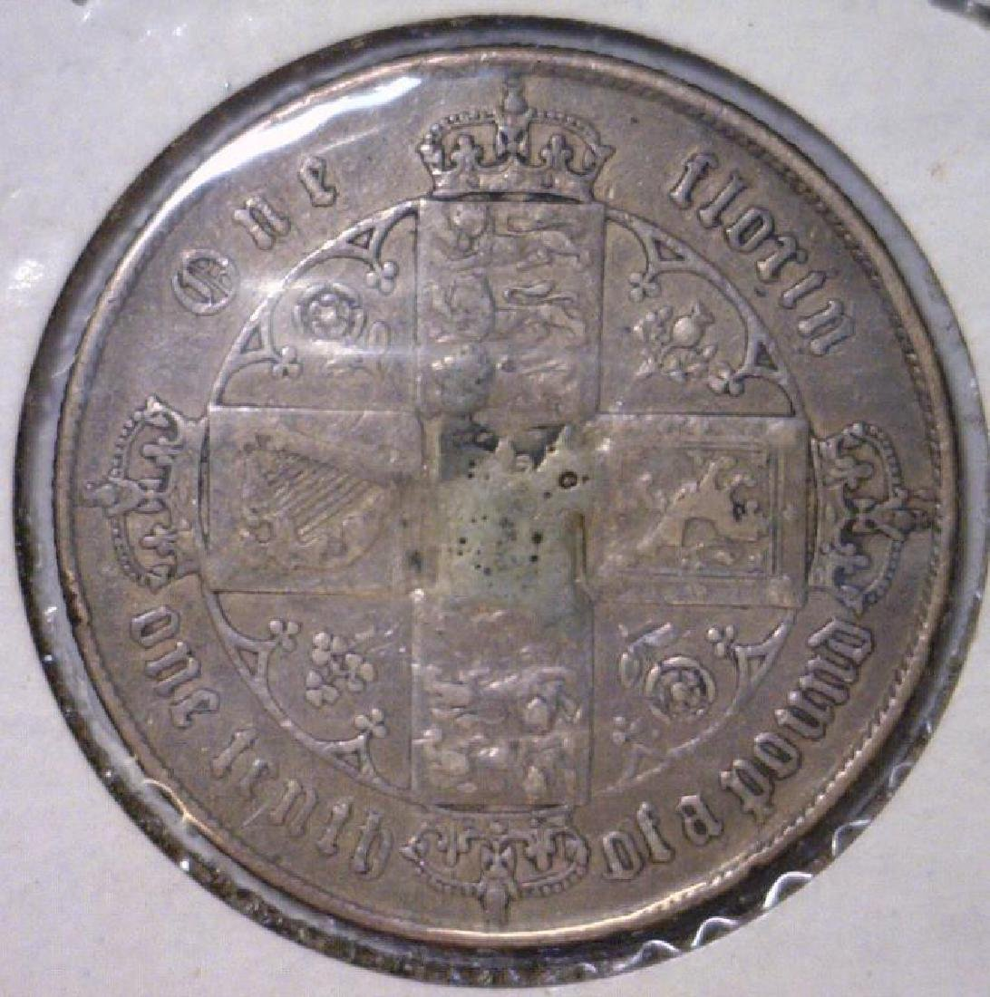 1866 Silver Florin Great Britain VF Mount Removed - 2