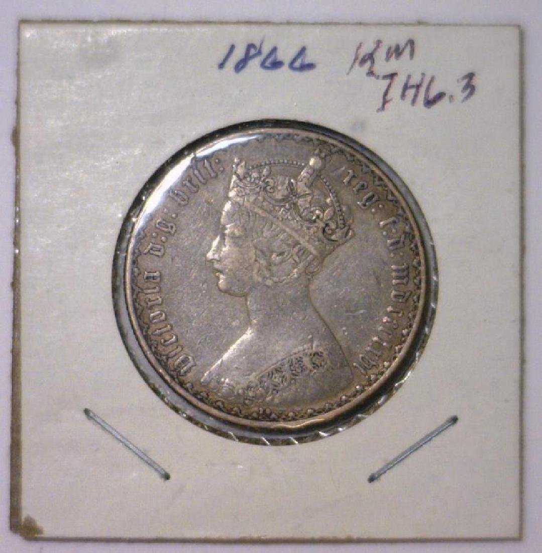 1866 Silver Florin Great Britain VF Mount Removed - 3