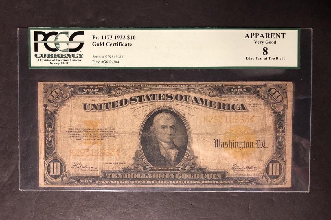 1922 $10 Gold Certificate PCGS VG8 Apparent