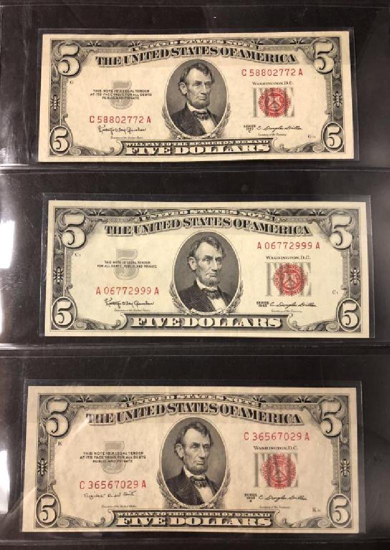 Lot of 3 $5 Legal Tender Notes 1953 BC 1963 XF-UNC