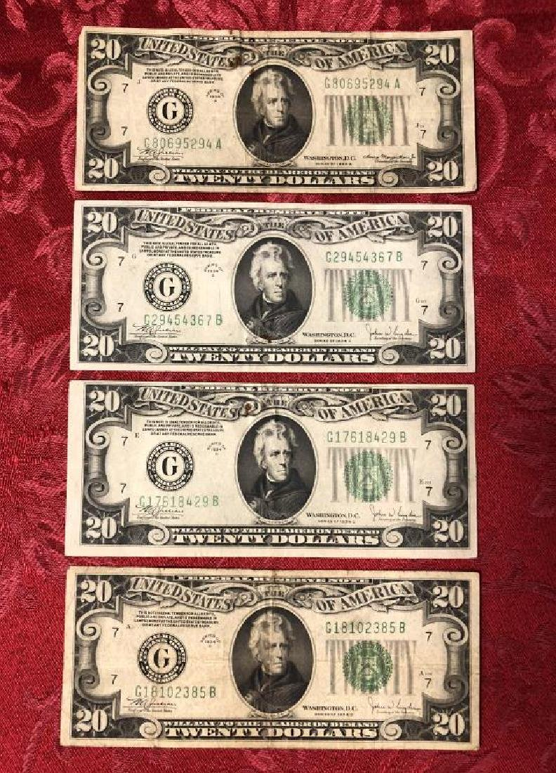 Lot of 4 Series 1934 $20 FRN Currency Notes Circ