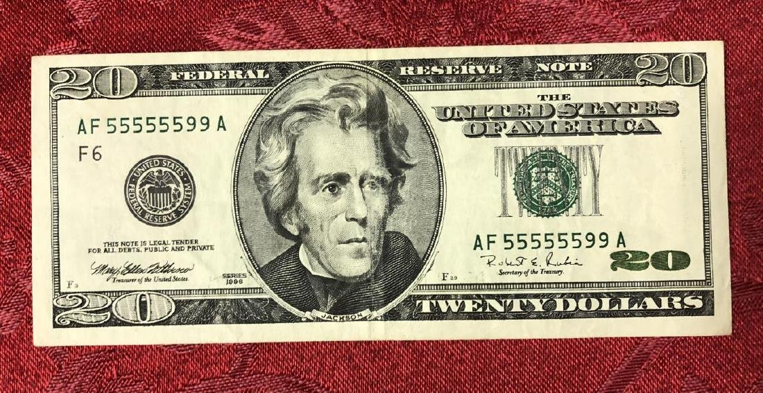 1996 $20 FRN Fancy Serial Number 5 & 9 Numbers