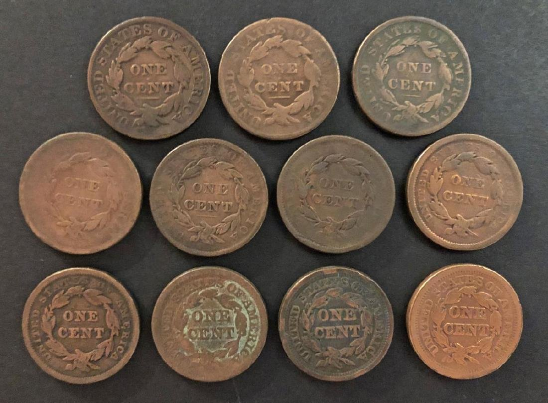 Lot of 11 Different Large Cents 1831-1852 cleaned - 2