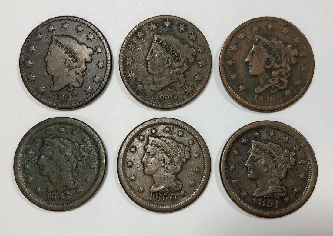Lot of 6 Different Large Cents 1827-1851 G-VF