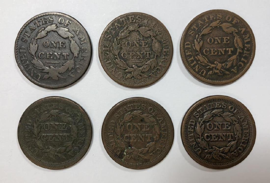 Lot of 6 Different Large Cents 1827-1851 G-VF - 2