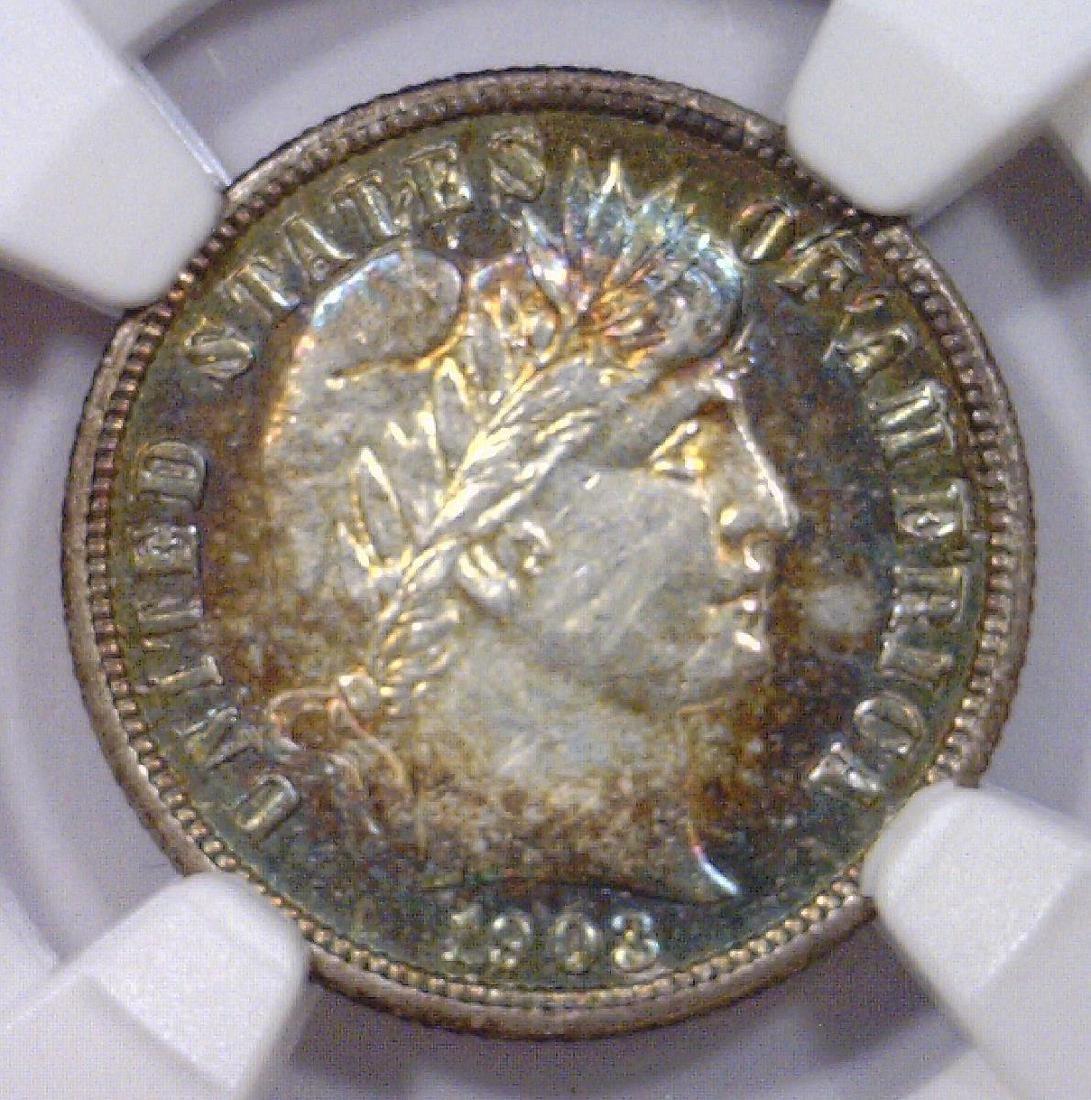 1903 Barber Silver Dime Color Toned NGC AU details
