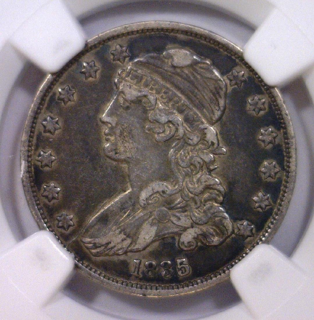 1835 Capped Bust Silver Quarter NGC VF details