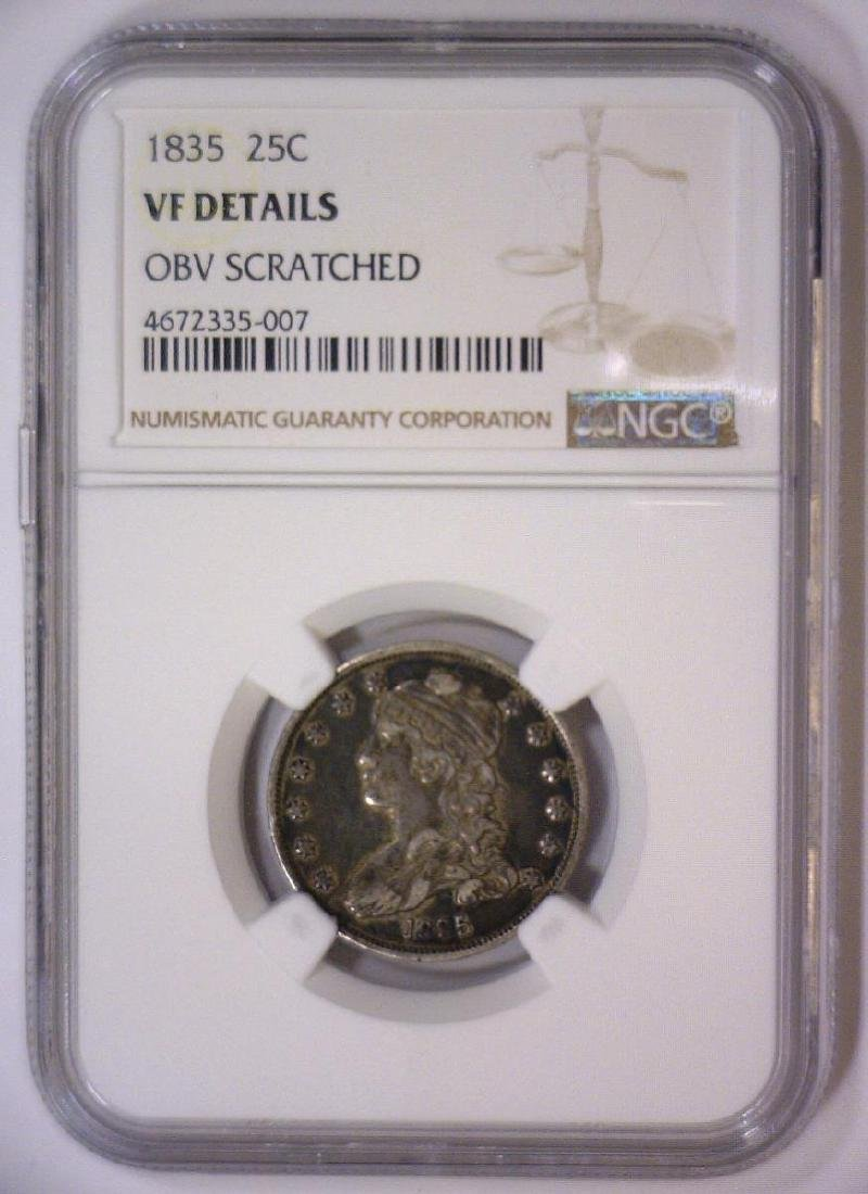 1835 Capped Bust Silver Quarter NGC VF details - 2