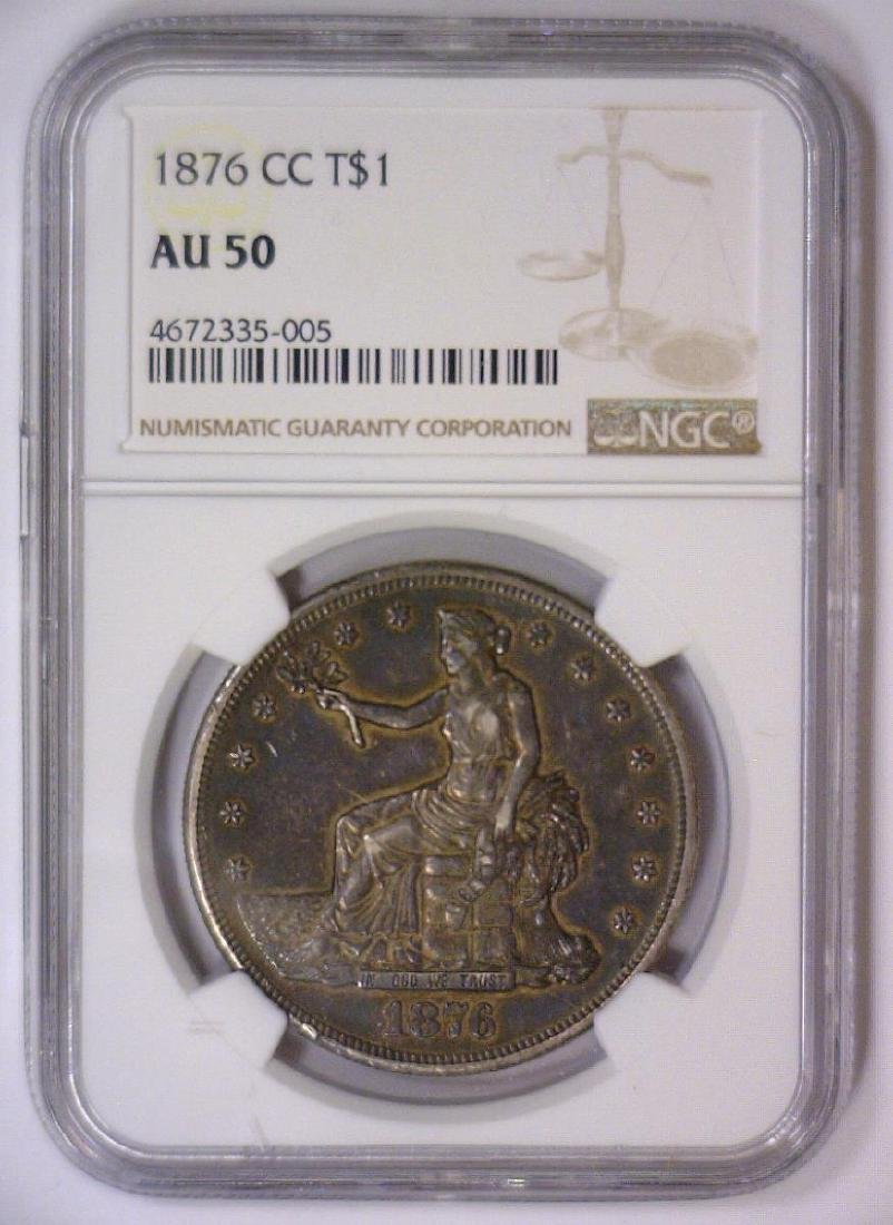 1876-CC Trade Dollar No Chopmarks NGC AU50 - 2
