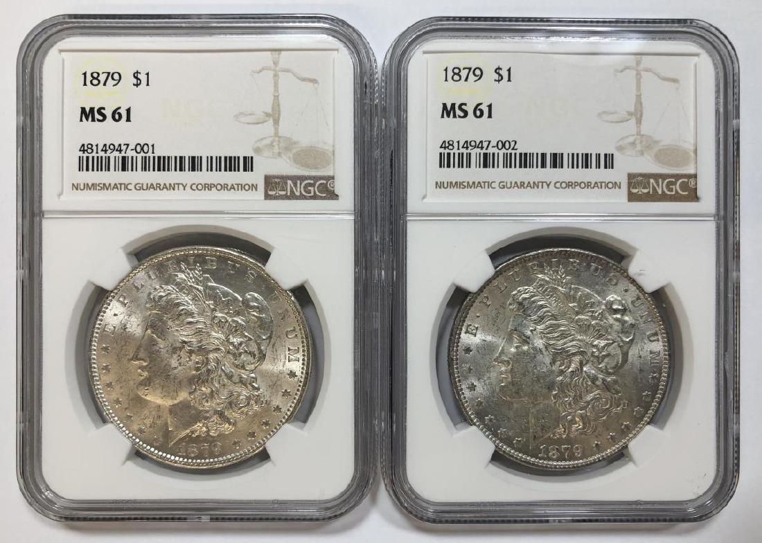 Pair of 1879 Morgan Silver Dollars NGC MS61