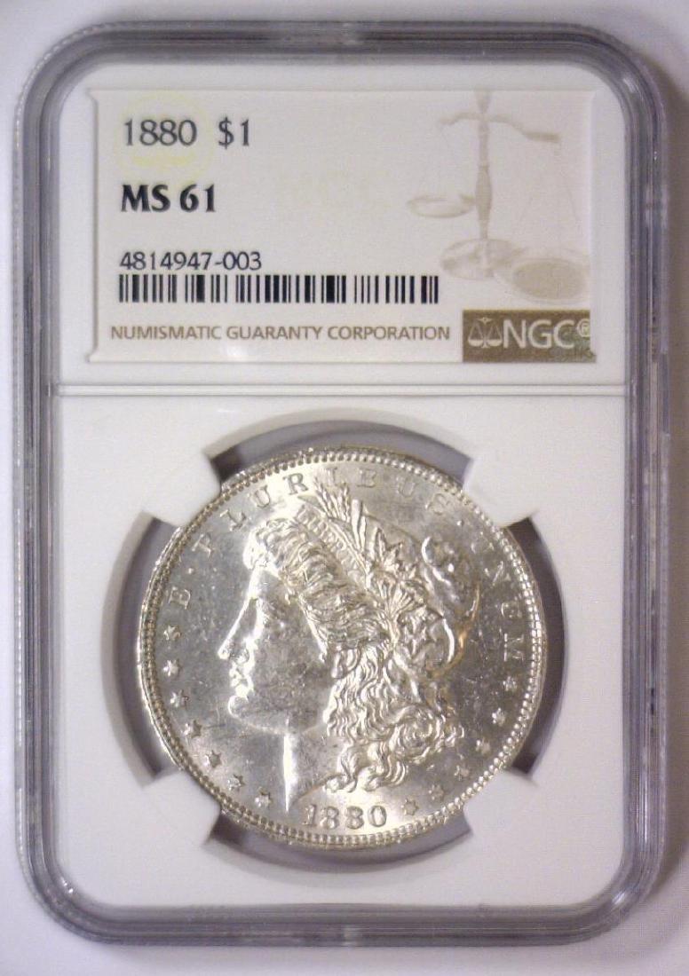1880 Morgan Silver Dollar NGC MS61 - 2