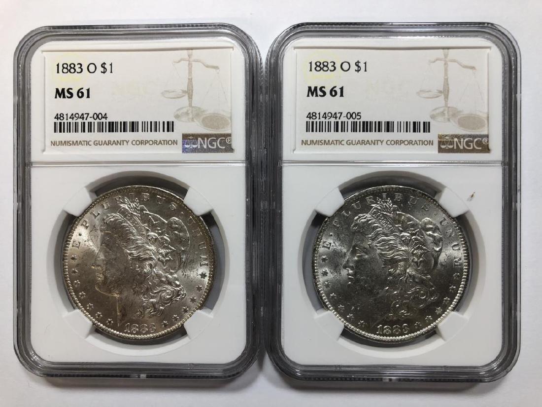 Pair of 1883-O Morgan Silver Dollars NGC MS61
