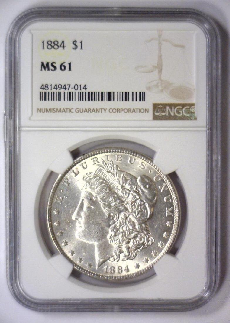 1884 Morgan Silver Dollar NGC MS61 - 2