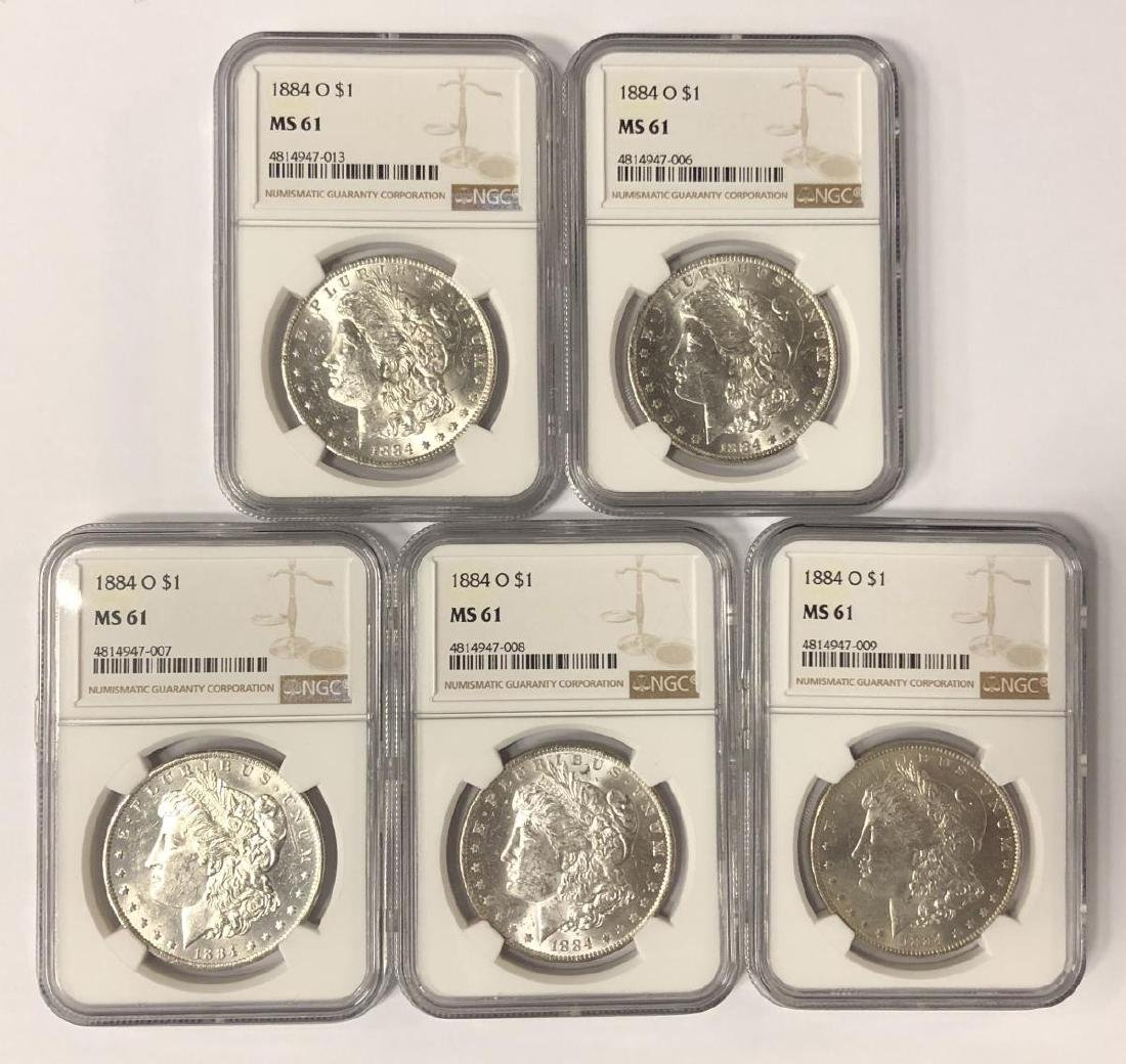 Investor Lot of 5 1884-O Morgan Silver $1 NGC MS61