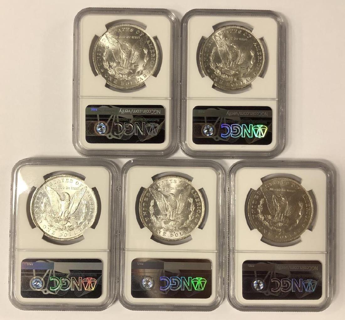 Investor Lot of 5 1884-O Morgan Silver $1 NGC MS61 - 2