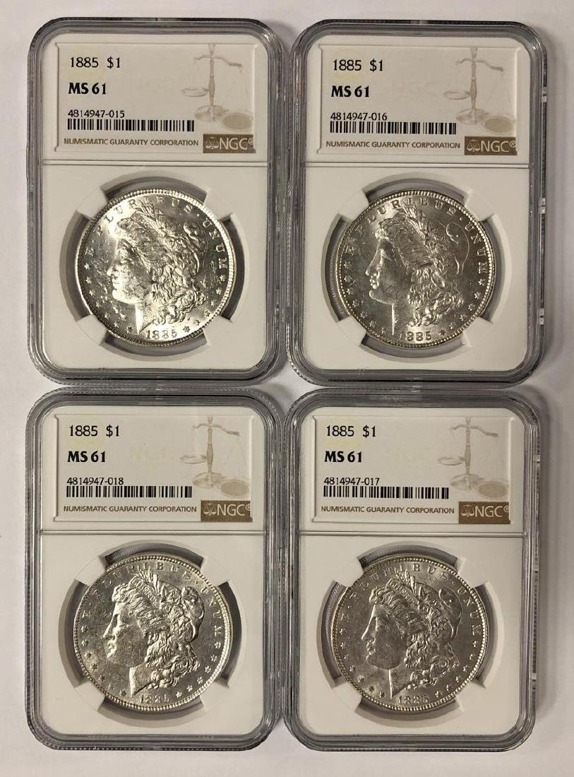 Lot of 4 1885 Morgan Silver $1 NGC MS61