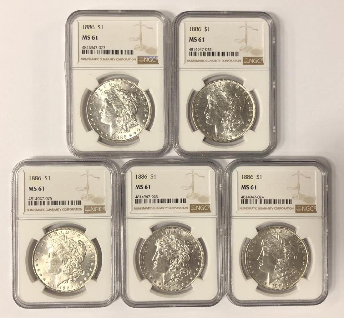 Investor Lot of 5 1886 Morgan Silver $1 NGC MS61