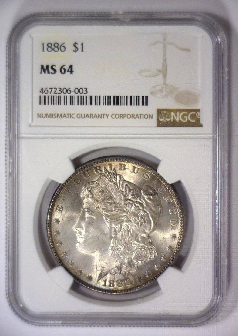 Trio of 1886 Morgan Silver Dollars NGC MS64 - 5