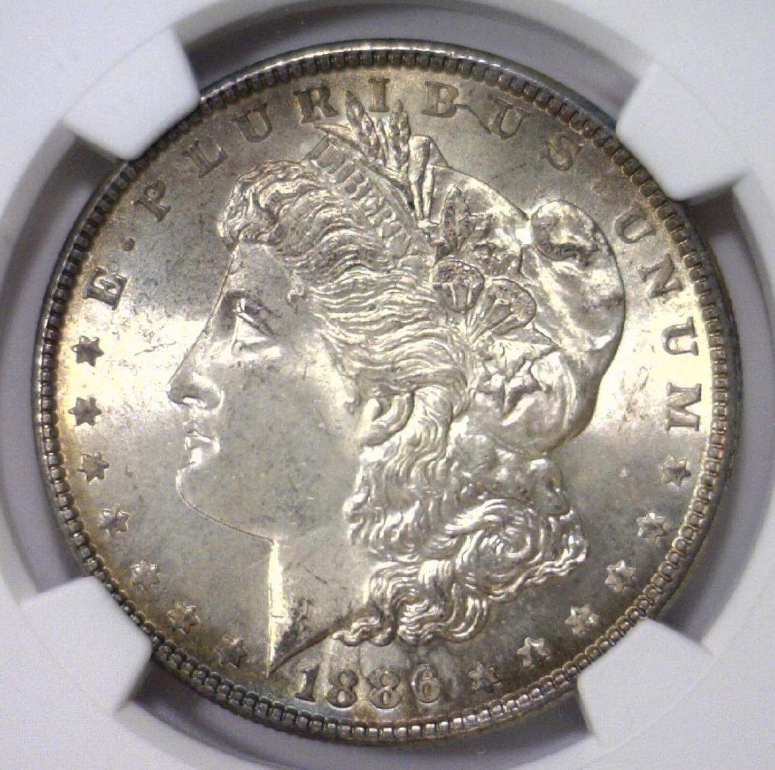 Trio of 1886 Morgan Silver Dollars NGC MS64 - 6